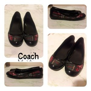 Coach Red And Black Ballet Flats